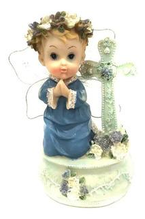 Figura Decorativa De Porcelana Angel Azul (12 Piezas)