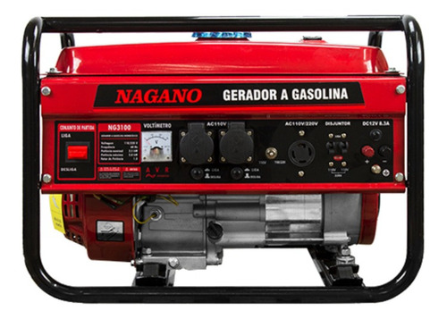 Gerador portátil Nagano NG3100 3000W monofásico com tecnologia AVR 110V/220V