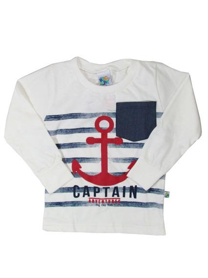 Camiseta Infantil Algodão Menino Manga Longa Captain Big Day