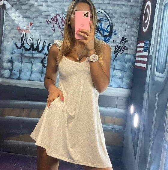 Vestido Remeron Mujer Informal Estampado Modal Escote Corto