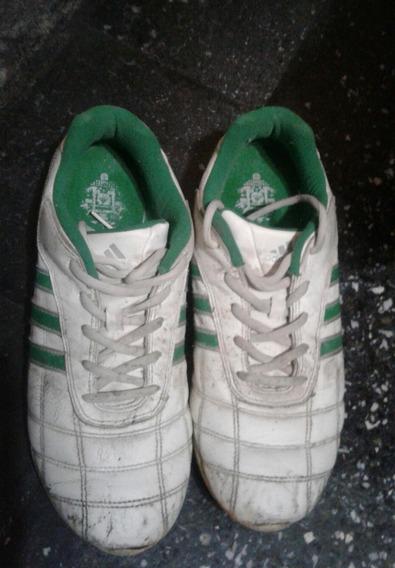 Zapatillas Hombre adidas 43.5 Cuero Blancas Verde Urbanas