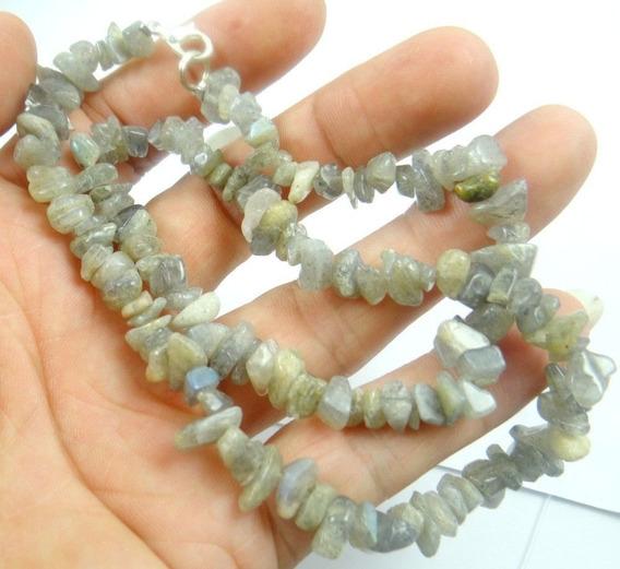 Colar Feminino Labradorita Natural Pedras Pequenas J3211