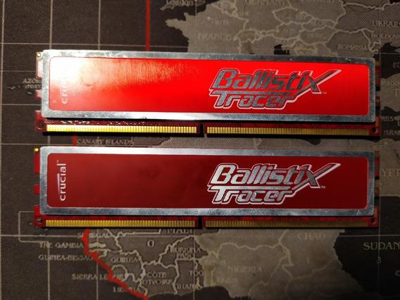 Crucial Ballistix Tracer 2x2gb Ddr2 800mhz Pc2-6400 Led Rojo