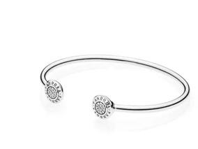 Pulseira Bracelete Aberto Brilho Prata 925 Pandora