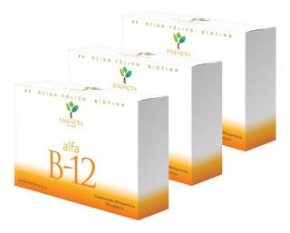 3 Cajas Alfa B-12 Sublingual Enzacta Total 90 Tabletas Promo