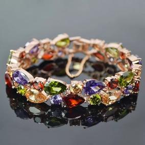 Pulseira Bracelete Feminino Luxo Com Zircônias - Semijoia
