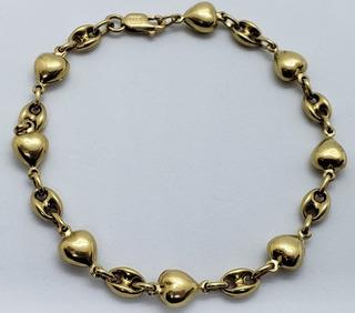 Pulsera Oro Amarillo 18k -corazón- 7,1 Grs- Pu12