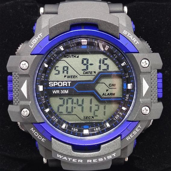 Relógio 8338g Azul Digital Original Resistente A 50 Água