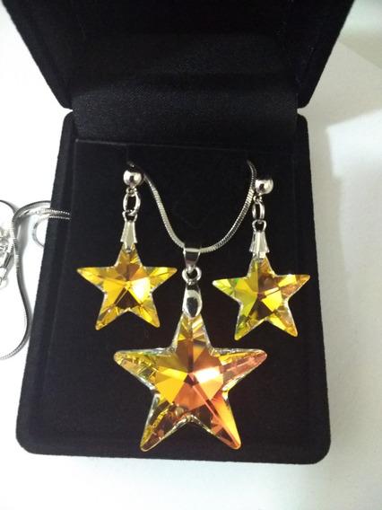 Colar E Brincos Estrela Cristal Swarovski Aurora Boreal