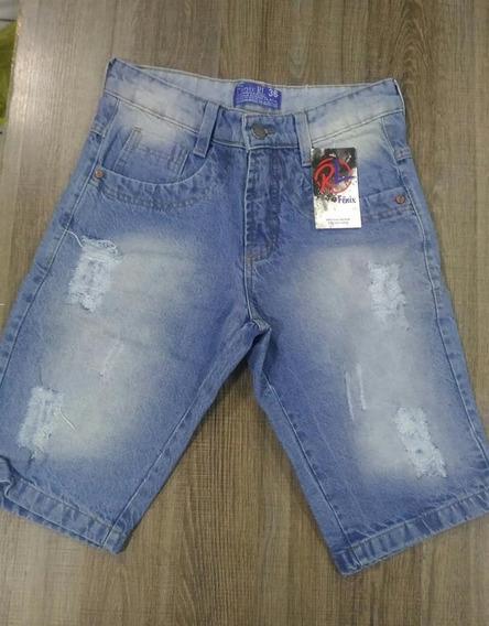Bermudas Shorts Jeans Colorida Barra Virada. Lycra Street