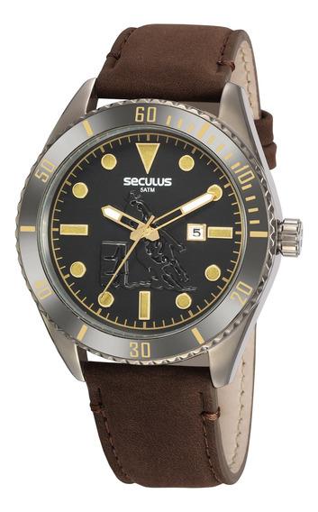 Relógio Seculus Original Pulseira De Couro 20830gpsvsc2