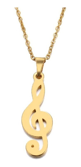 Collar Dije Nota Musical Amuleto Unisex Acero Inoxidable