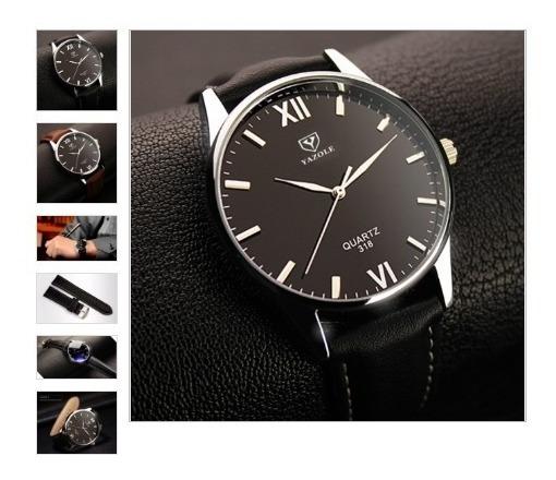 Relógio Masculino Luxo Yazole Couro Sintético 318