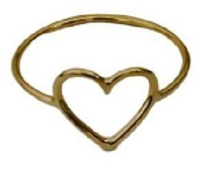 Anel Coração Ouro Fio Redondo Reforçado Top Elite Número 10