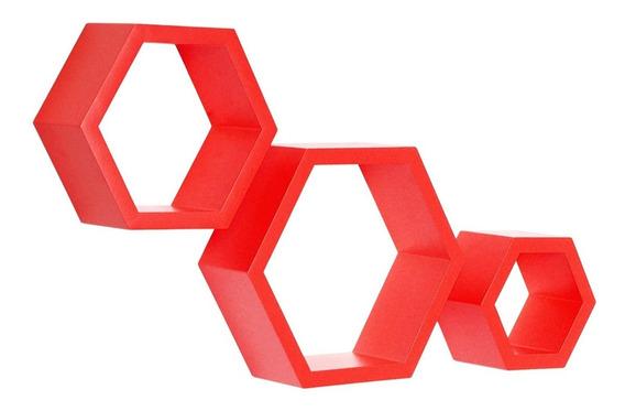 Nichos Hexagonal Colmeia P Nayan Mix Vermelho 3 Pecas