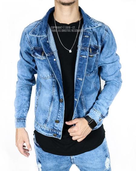Jaqueta Jeans Masculina Blusa De Frio Destroyed Rasgada