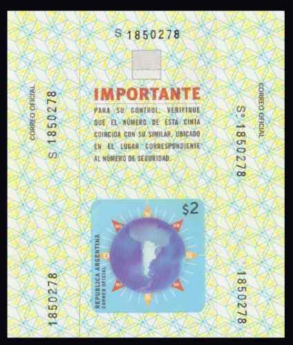 Argentina Sello Postal De Alta Seguridad Tipo S Nuevo