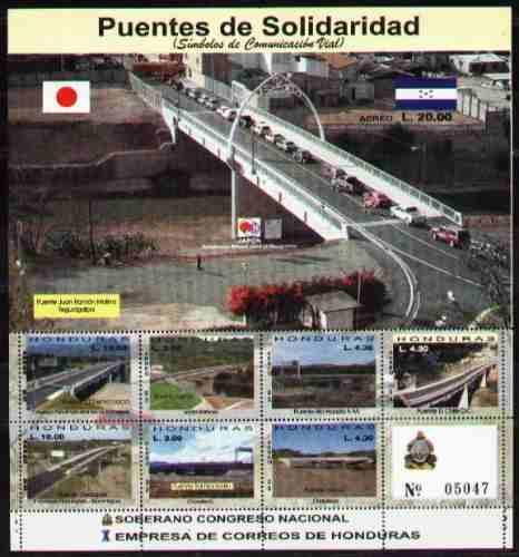 Honduras 2003 - Puentes - Hojita Con 7 Valores Y 1 Bloque