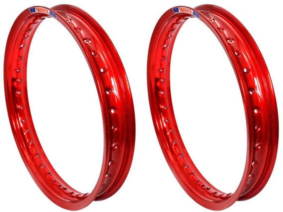 Par Aros Moto Alumínio Cor Vermelho Vitral Titan Fan 150/125