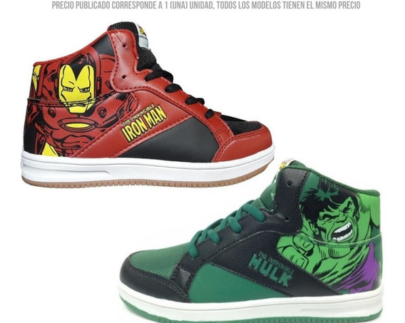 Zapatillas Botas Marvel Spiderman Iron Man America Ct Mmk