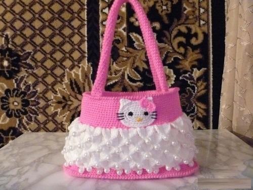 Bolsa Em Crochê Hello Kitty
