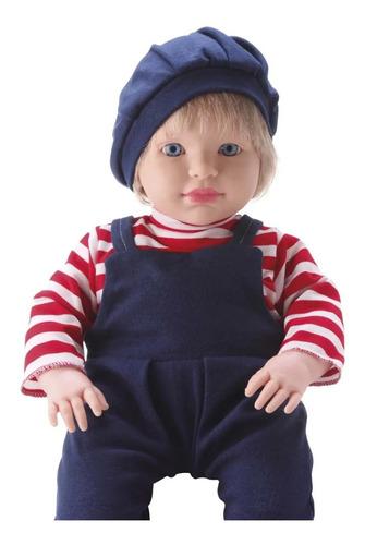 Imagem 1 de 4 de Boneca Bebe Menino Loiro Grande Loui Tipo Reborn 53cm