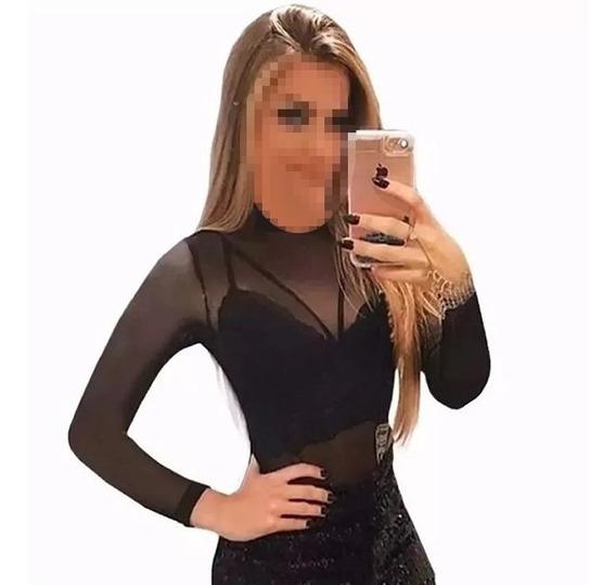 Body Blusa Feminina Manga Longa Transparente Tule