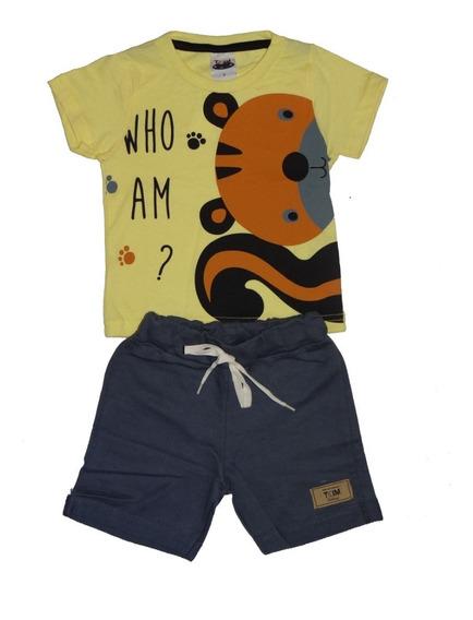 Kit 3 Conjunto Roupa Infantil Menino Shorts Moletom Atacado