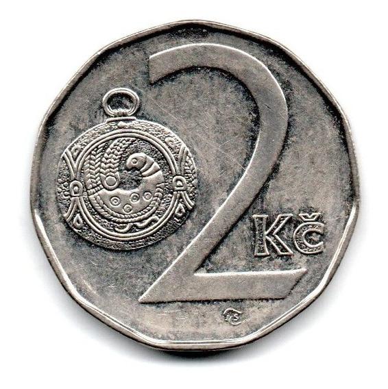Republica Checa Moneda 2 Koruny Año 1995 Km#9