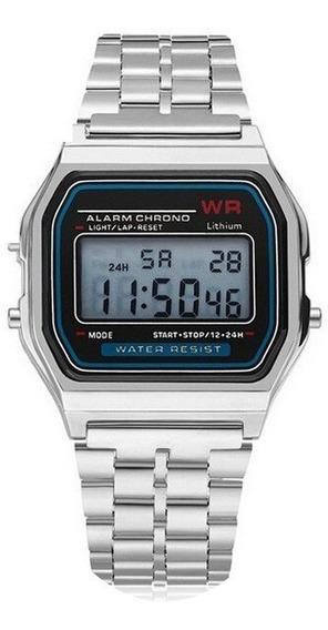 Relógio Clássico Prata Retrô + Caixinha Unissex Promoção