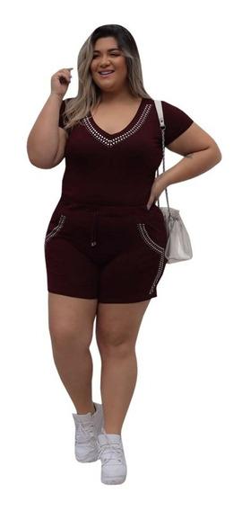 Blusa+shorts Com Pedras Moda Verão Roupas Femininas Modinha