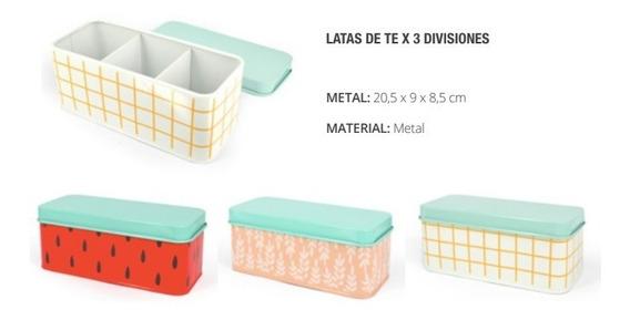 Caja De Té Metálica Con 3 Divisiones Lata - Mochi Regalería