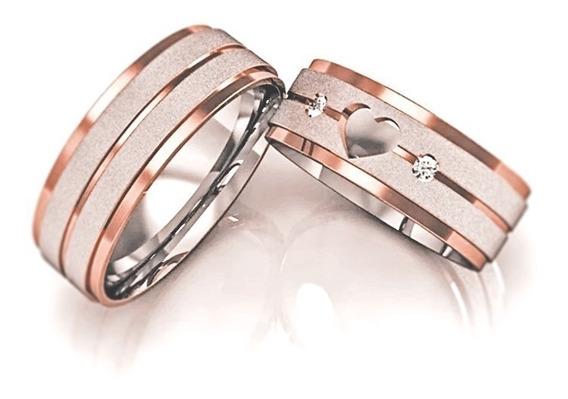 Par De Alianças Em Ouro 18k Prata E Diamantes Compromisso Noivado Casamento 6mm Luxo Ouro Rosa Ouro Amarelo Coração
