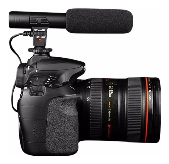 Microfone Direcional Shotgun Com Espuma Para Dslr E Lapela