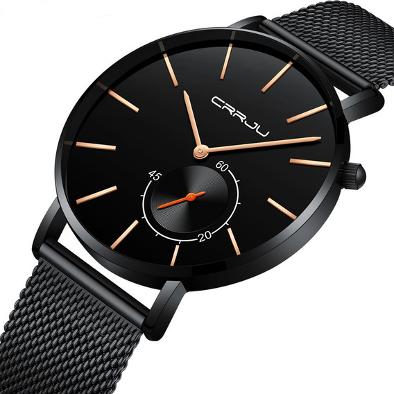 Relógio Masculino Ultra Fino Luxo Crrju Funcional Metálico