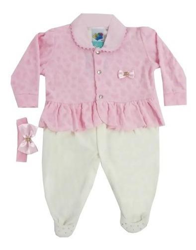 Macacão Em Plush Bebê Menina Com Faixa