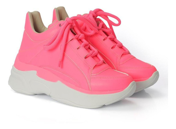 Tênis Dad Sneakers Cano Baixo Feminino Neon Dia A Dia