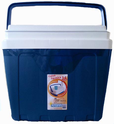 Imagem 1 de 1 de Caixa Térmica 34 Litros Com Alça E Porta Copos Cooler Azul