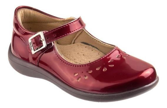 Zapato Rilo Para Niña Charol Negro & Rojo Hebilla E-1710***