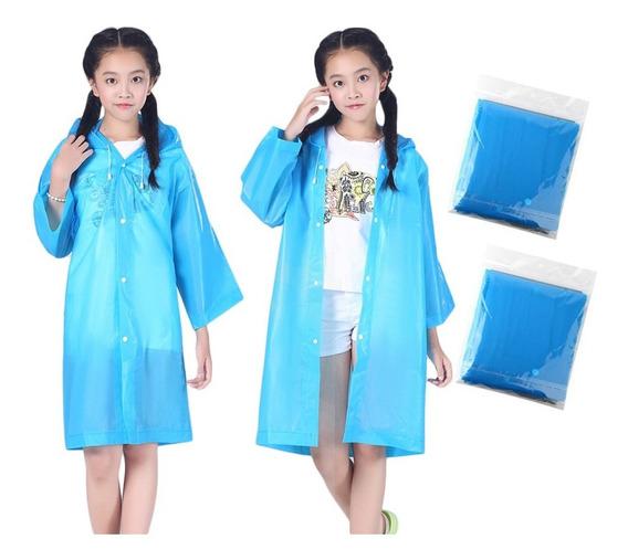 2pcs Niños Encapuchado Chaqueta De Rainsuit Lluvia Poncho I