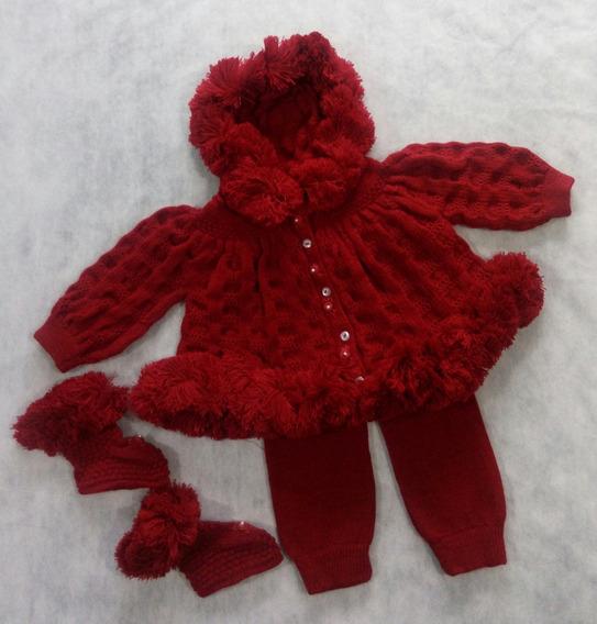 Saída Maternidade Pompom Bebê Casaco Calças Botinha Ref. 111