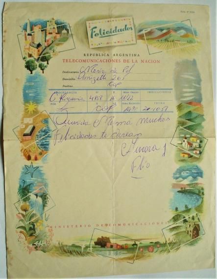 Telegrama Felicidades Antiguo Formulario Del Correo 1951