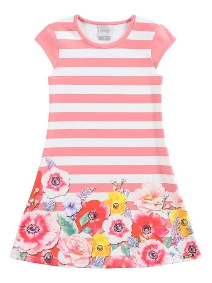 Vestido Rayado Con Flores Verano Niña Nena