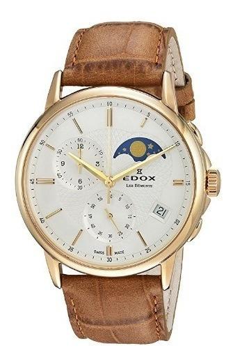 Relógio Edox Les Bemonts Suíço Marrom Cronografo Moonphase