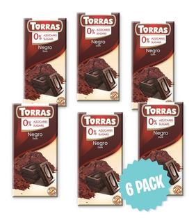 Chocolate Sin Azúcar Negro 51% Cacao Torras Barra 75g(6pack)