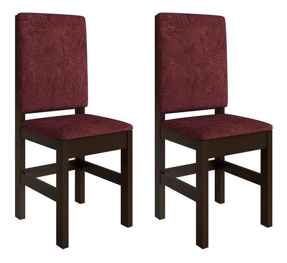 Conjunto De 2 Cadeiras Mistic Suede Tabaco E Vinho