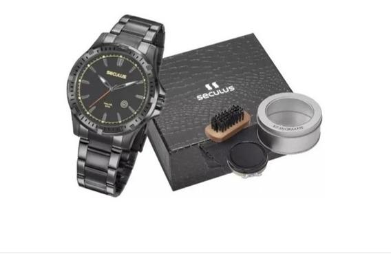 Relógio Seculus Masculino Sport Com Garantia + Brinde