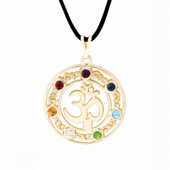 Colar Om 7 Chacras Dourado Mandala Oferta Top Promoção