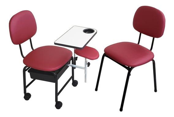 Kit Cirandinha Manicure E Cadeira Para Cliente Bordô Facto