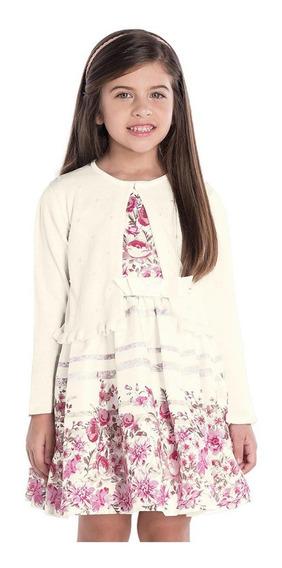 Vestido Feminino Com Bolero Em Pérolas Roupa Infantil